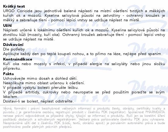 Informace o produktu URGO CORICIDE Náplast na kuří oka 12ks