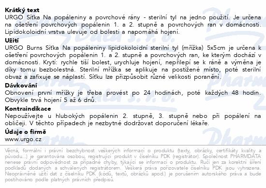 Informace o produktu URGO BURNS Na popáleniny lipidok.síťka 5x5cm 6ks