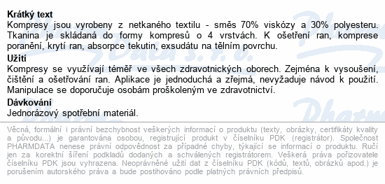 Informace o produktu Kompres netk.textil 4 vrs.ster.10x10/2ks Steriwund