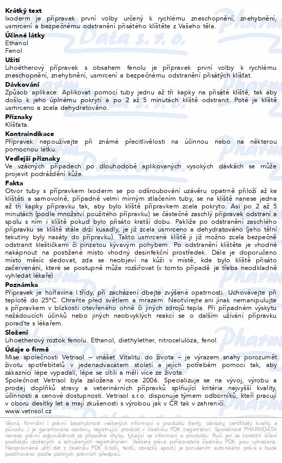 Informace o produktu Ixoderm Klíšťák 10ml