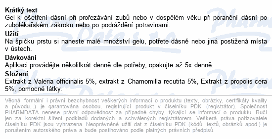 Informace o produktu Dologel Gel na prořezávání zoubků 15ml