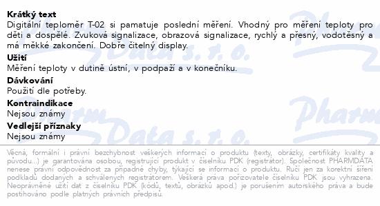 Informace o produktu Biotter teploměr elektronický T-02 Flexible 1ks