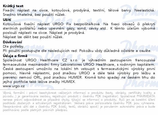 Informace o produktu URGO FIX Náplast textilní 5mx2.5cm