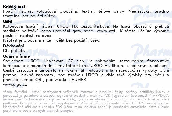 Informace o produktu URGO FIX Náplast textilní 5mx1.25cm