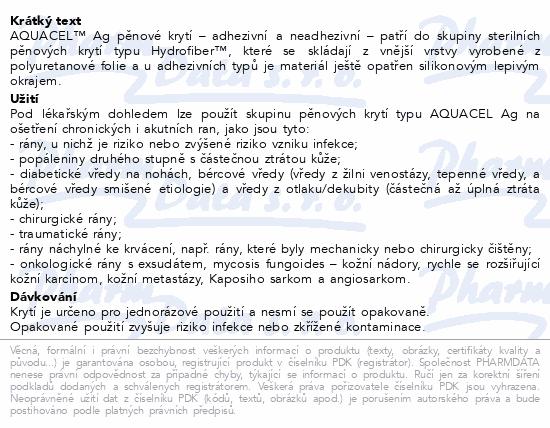 Informace o produktu Aquacel foam Ag neadhesivní 5x5cm 10ks