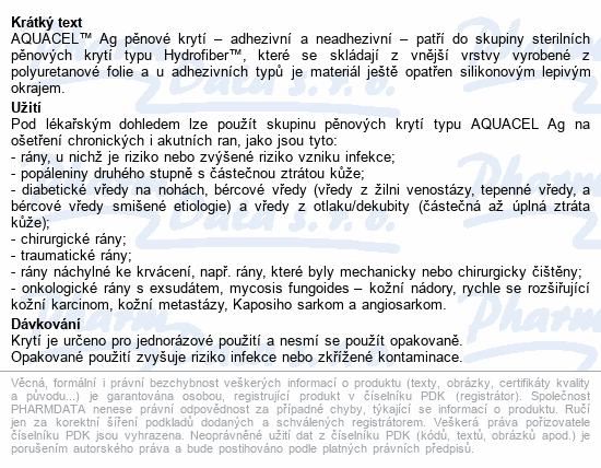 Informace o produktu Aquacel foam Ag neadhesivní 10x10cm 10ks