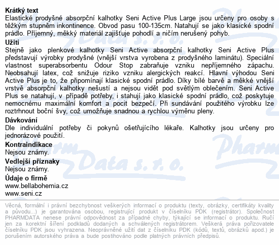 Informace o produktu Seni Active Plus Large 10ks ink. plen. kalh.