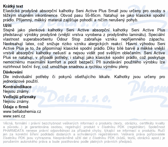 Informace o produktu Seni Active Plus Small 10ks ink. plen. kalh.