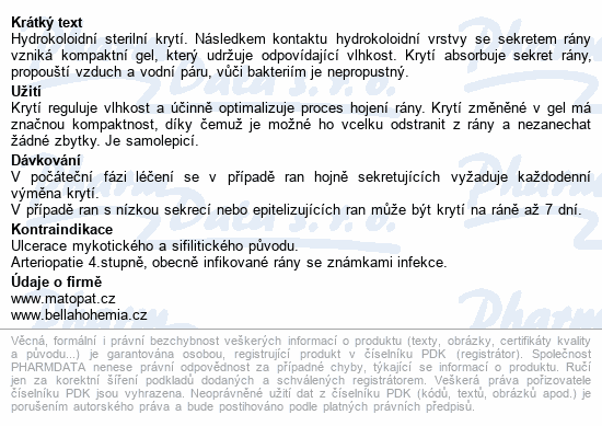 Informace o produktu Medisorb H hydrokoloidní krytí steril.10x10cm 5ks