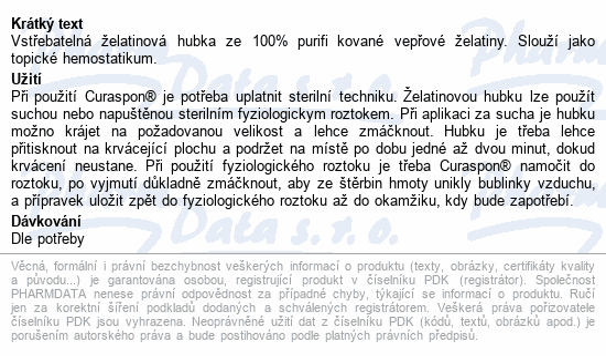 Informace o produktu Curaspon nosní tampon CS-452 50x10x10mm 2ks