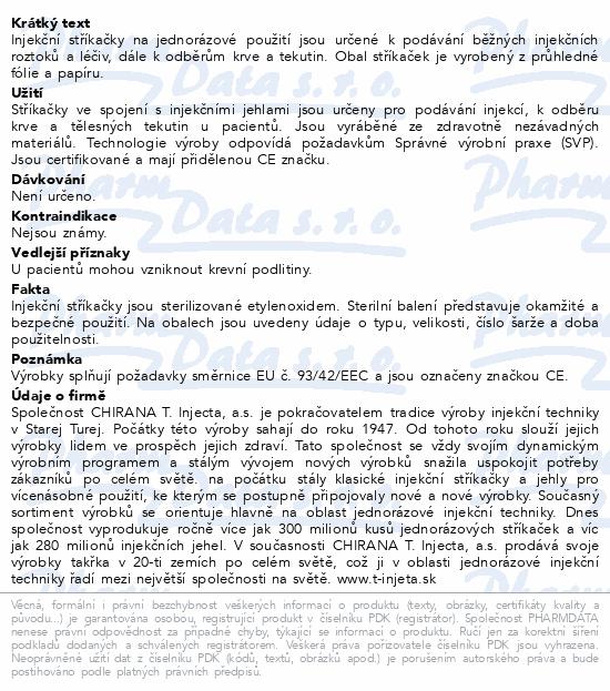Informace o produktu Inj.střík.20ml Chirana Luer 80ks jednoráz.