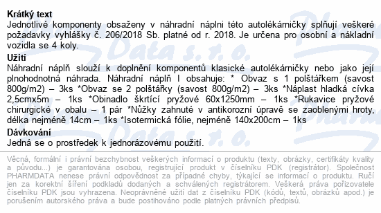 Informace o produktu Autolékárnička vyhl.č.206/2018 náhradní náplň