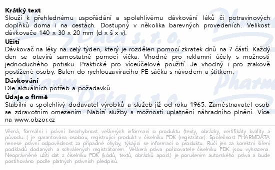 Informace o produktu Dávkovač léků OBZOR typ 07 týdenní světle zelený