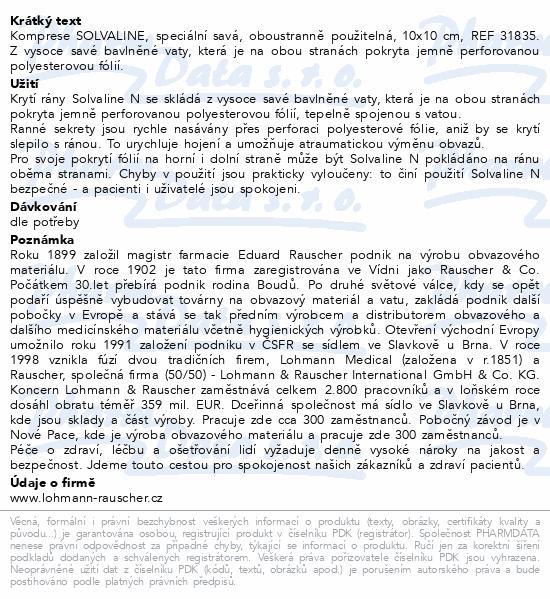 Informace o produktu Komprese Solvaline N spec.savá steril.10x10cm 10ks