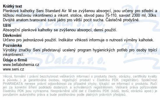Informace o produktu Seni Standard Air Medium 30ks plenkové kalhotky