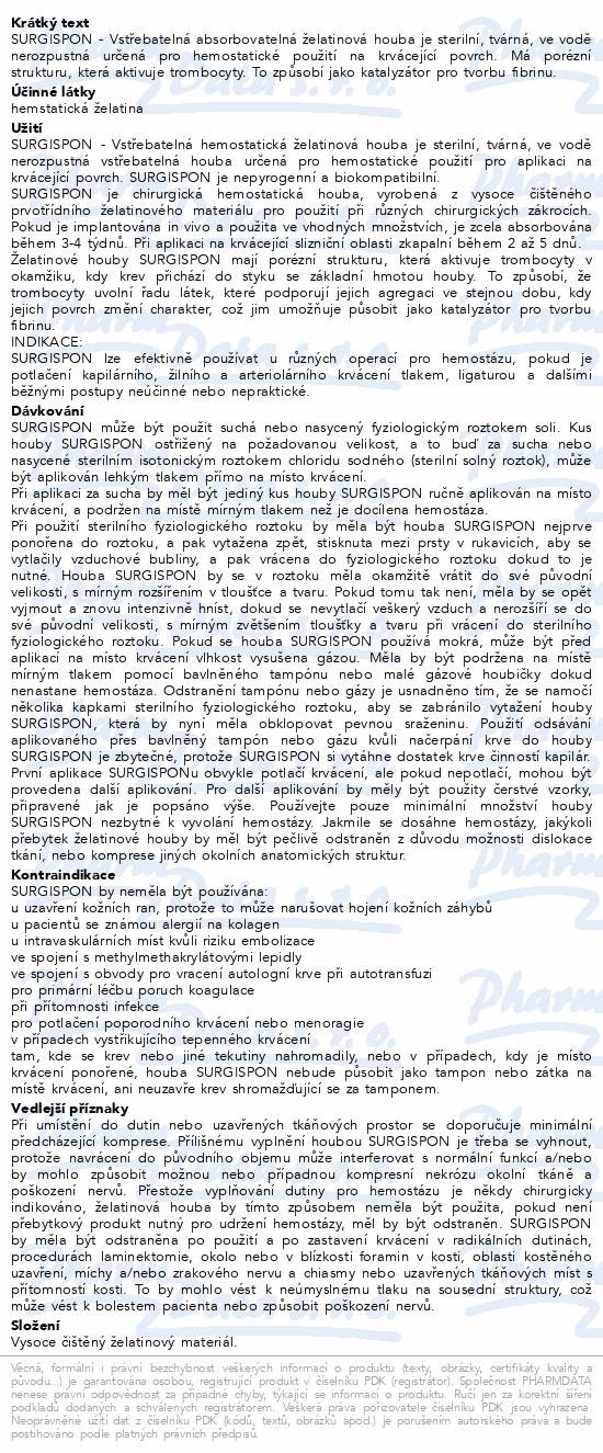 Informace o produktu Surgispon Standard 8x5x1cm 2ks