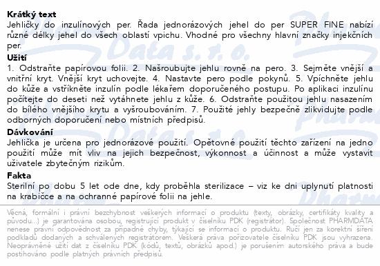 Informace o produktu Jehly pro inzul.pera SUPER FINE 8mm 31G 100ks