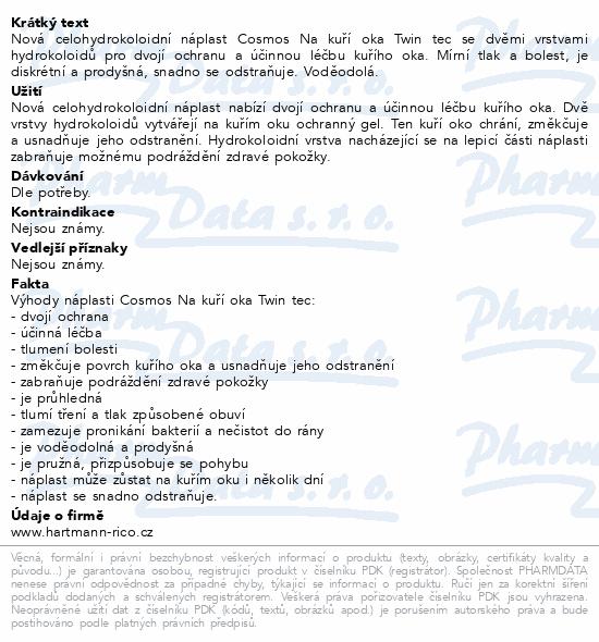 Informace o produktu Rychloobvaz COSMOS Na kuří oka Twin tec 6ks