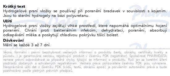 Informace o produktu Hydrogelové hojící prsní vložky pro kojící mat.2ks