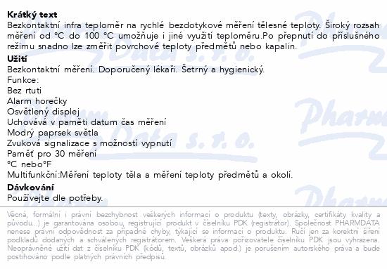Informace o produktu Microlife Teploměr NC 150 digit.čelní bezkontaktní