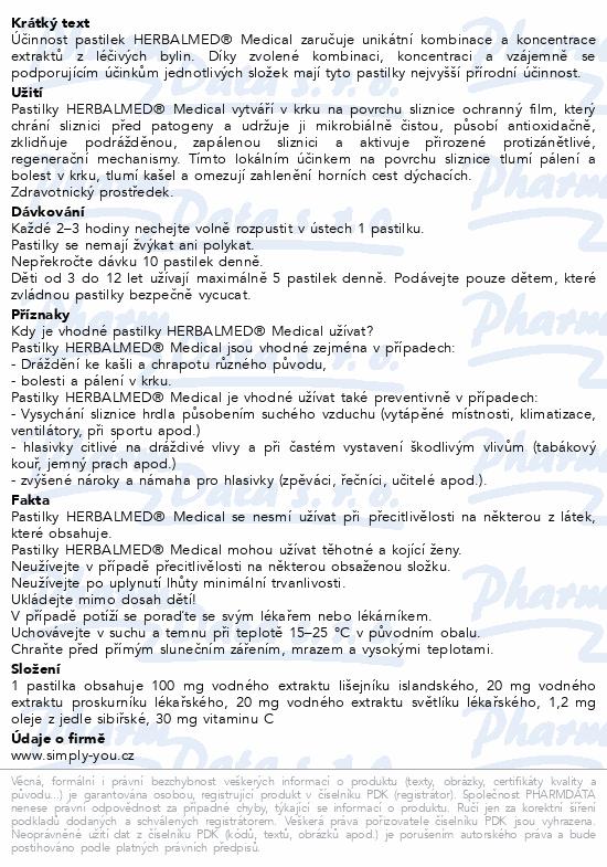 Informace o produktu HerbalMed MEDICAL pastilky Dr.Weiss ZP - 20past.