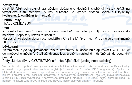 Informace o produktu Cystistat 40mg/50ml