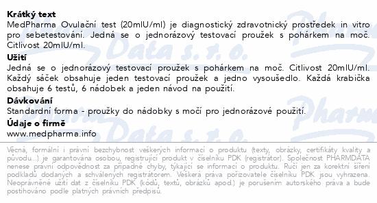 Informace o produktu MedPharma Ovulační test 20mlU/ml 6ks