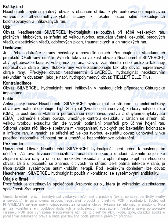 Informace o produktu Krytí NEADHER Silvercel Hydroalginate 11x11cm 10ks