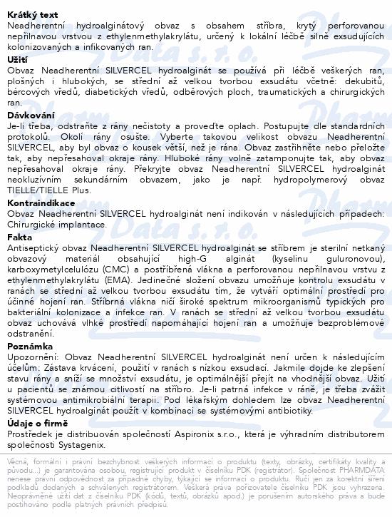 Informace o produktu Krytí NEADHER Silvercel Hydroalginate 5x5cm 10ks