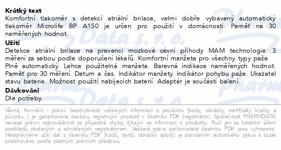 Informace o produktu Microlife Tlakoměr BP A150 AFIB digitální automat.