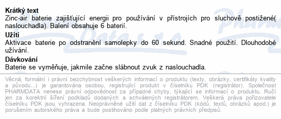 Informace o produktu Rayovac Extra Adv.312 baterie do naslouchadel 6ks