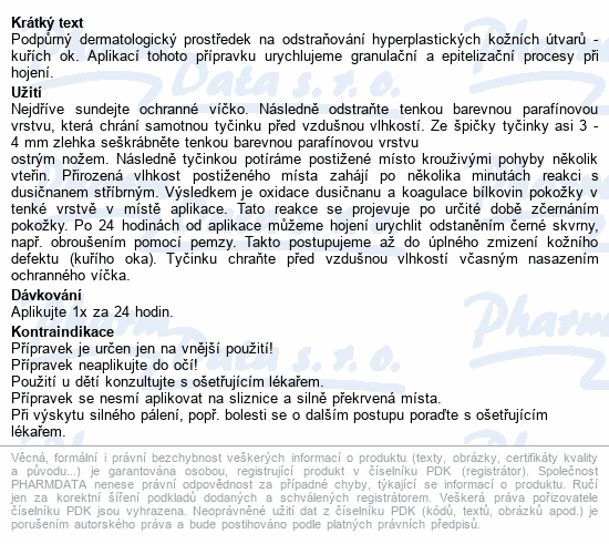 Informace o produktu Lapis Tyčinka na kuří oko 10g