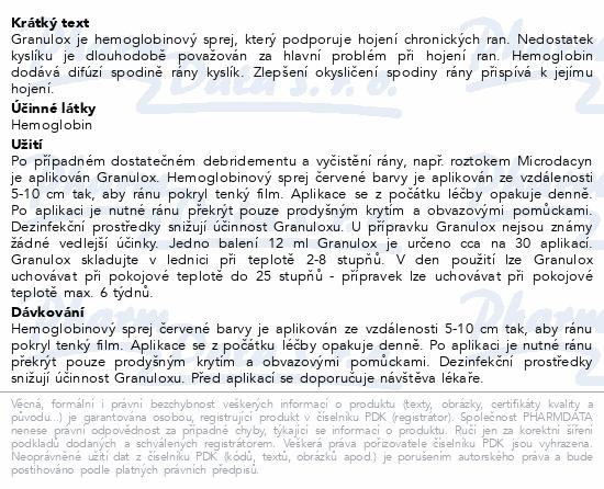 Informace o produktu Granulox hemoglobinový sprej 12ml