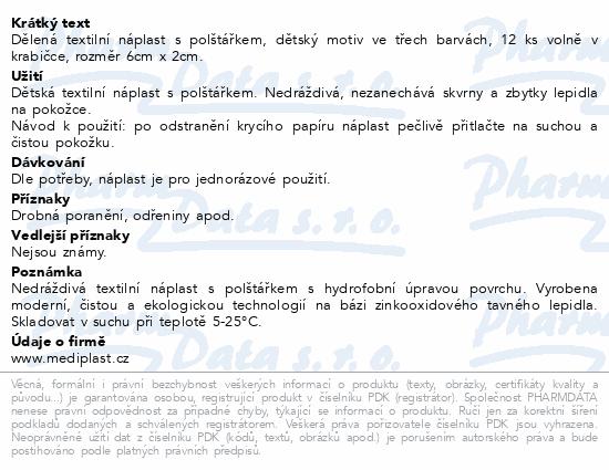 Informace o produktu Náplast Mediplast 6cmx2cm dětská 12ks