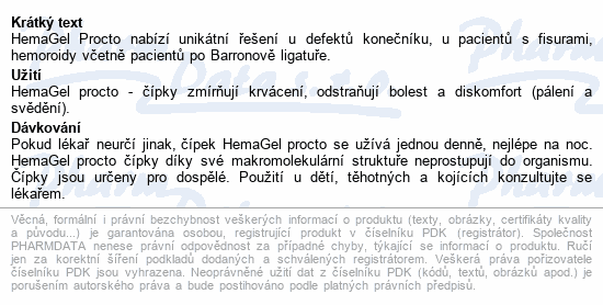 Informace o produktu HemaGel PROCTO čípky 5ks