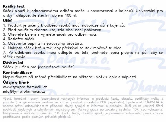 Informace o produktu Sáček na moč - odběrový 100ml pro děti 1ks steril.