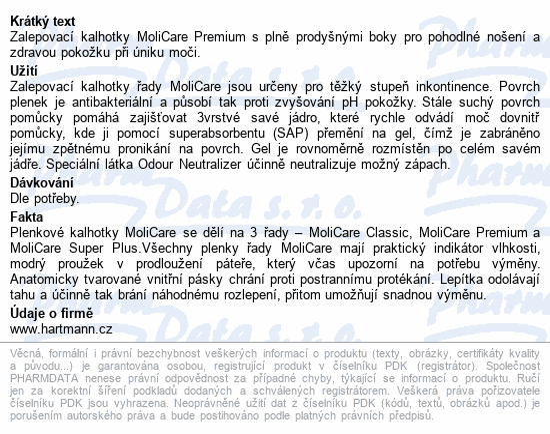 Informace o produktu MoliCare Prem 6kap S30ks/MoliCare Prem extraplus S