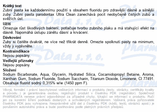 Informace o produktu Parodontax Ultra Clean ZP 75ml