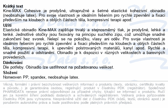 Informace o produktu KineMAX Cohesive elast.samofix. 2.5cmx4.5m tělové