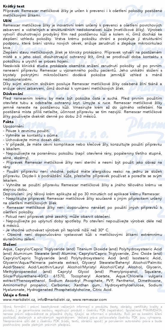 Informace o produktu Remescar metličkové žilky krém 50ml
