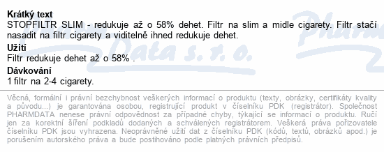 Informace o produktu Stopfiltr SLIM 25 ks