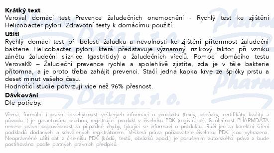 Informace o produktu Veroval Prevence žaludeč.onemocnění domácí test