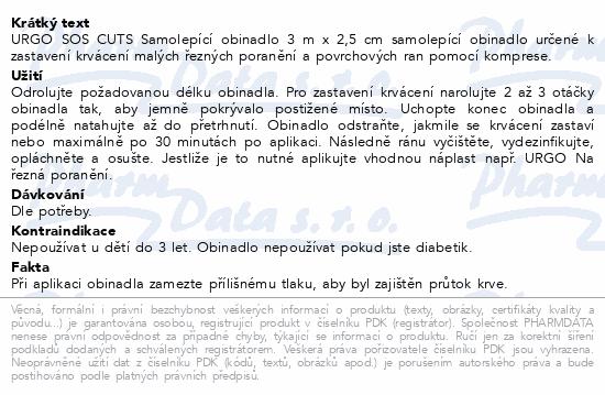 Informace o produktu URGO SOS CUTS Samolepící obinadlo 3mx2.5cm