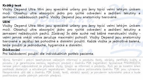 Informace o produktu Depend Liners Ultra mini inkont.vložky ženy 22ks