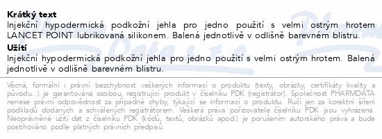 Informace o produktu Inj.jehla TERUMO 22Gx1 1/4 0.7x32mm černá 100ks