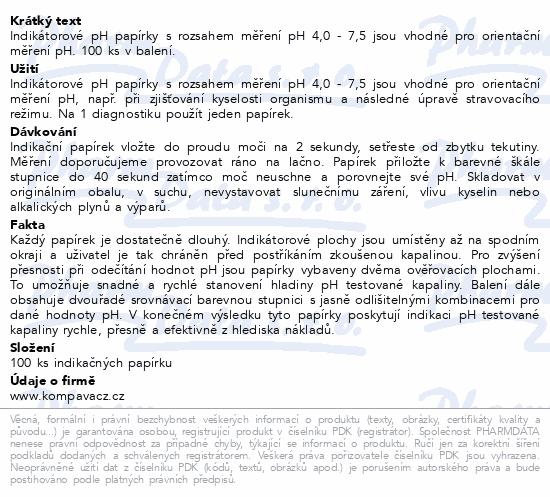 Informace o produktu Indikační pH papírky 100ks