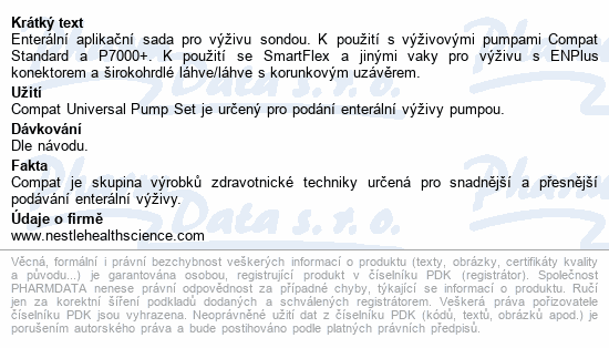 Informace o produktu Compat Universal Pump Set ENFit