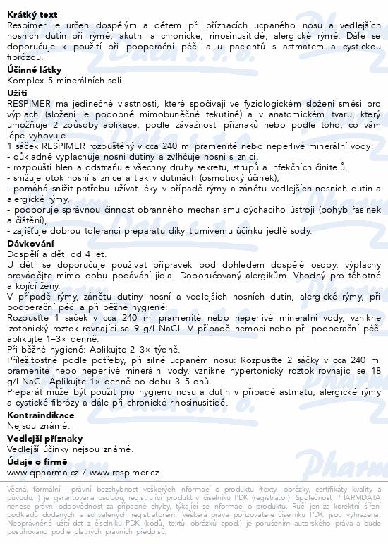 Informace o produktu RESPIMER - sáčky pro výplach nosu a dutin 30 ks