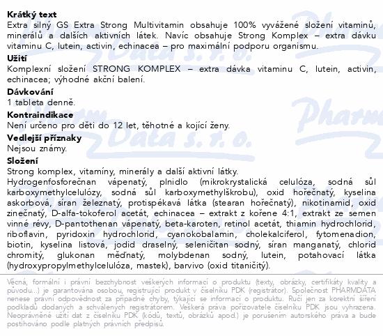 Informace o produktu GS Extra Strong Multivitamin 120 tablet