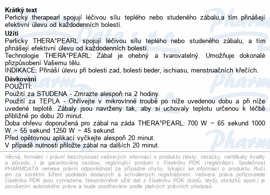 Informace o produktu TheraPearl Zábal na záda